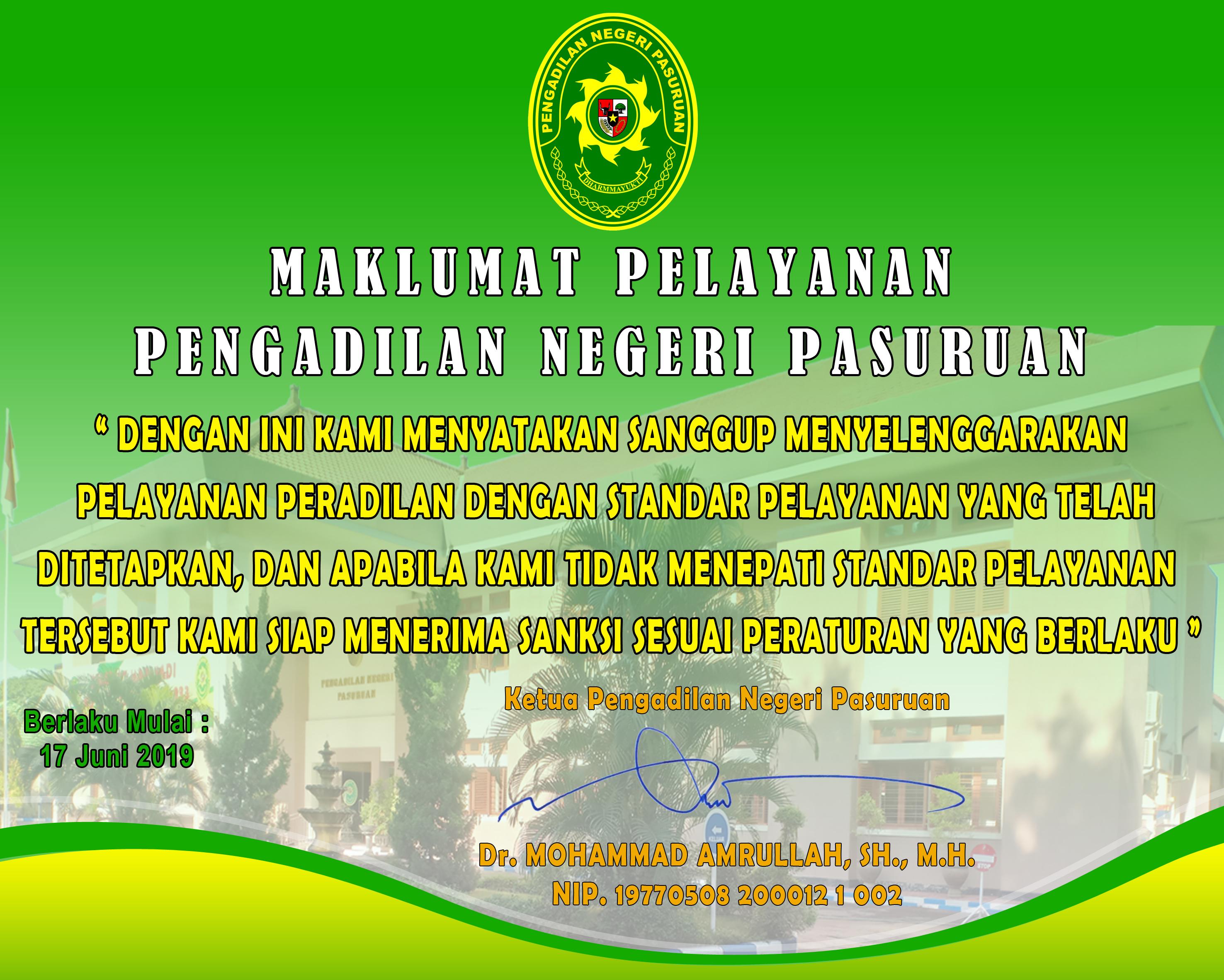 Standart dan Maklumat Pelayanan Pengadilan Negeri Pasuruan